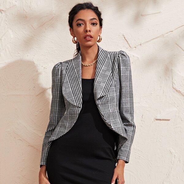 Shawl Collar Asymmetrical Hem Plaid Blazer, Grey