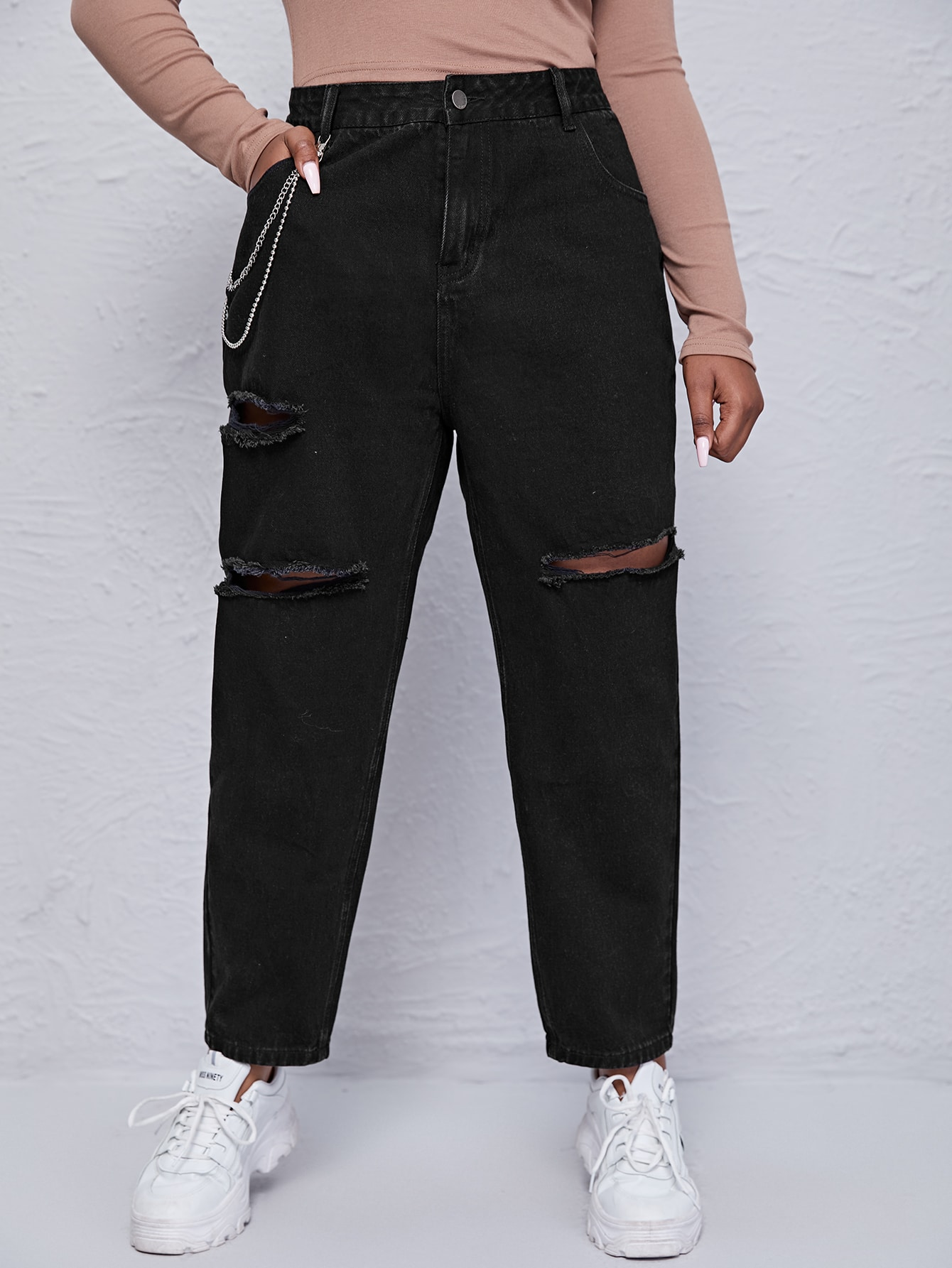 Plus Chain Detail Ripped Mom Jeans thumbnail