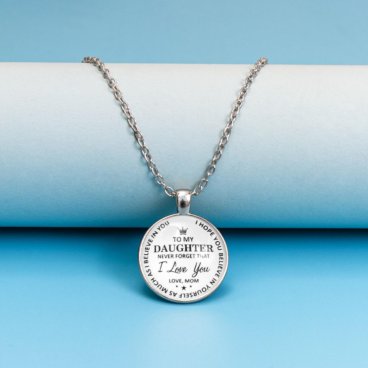 Ожерелье с круглым декором и текстовым принтом для девочек