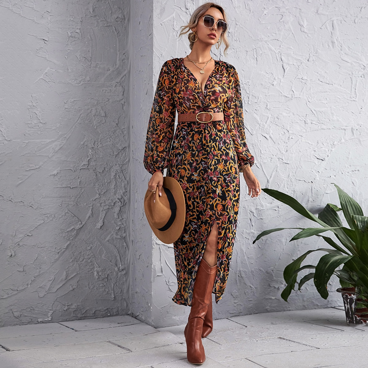 Baroque And Floral Print Twist Plunging Neck Dress Without Belt