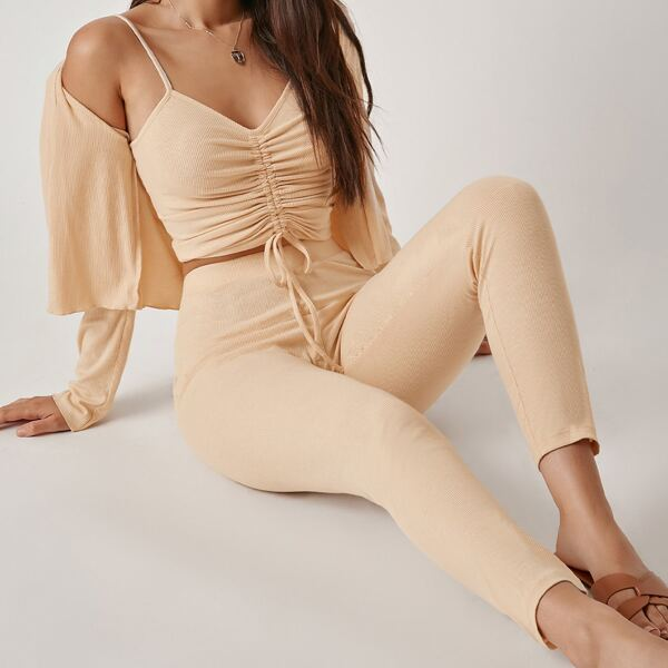 Drawstring Knot Ruched Cami Top & Leggings Set With Coat, Apricot