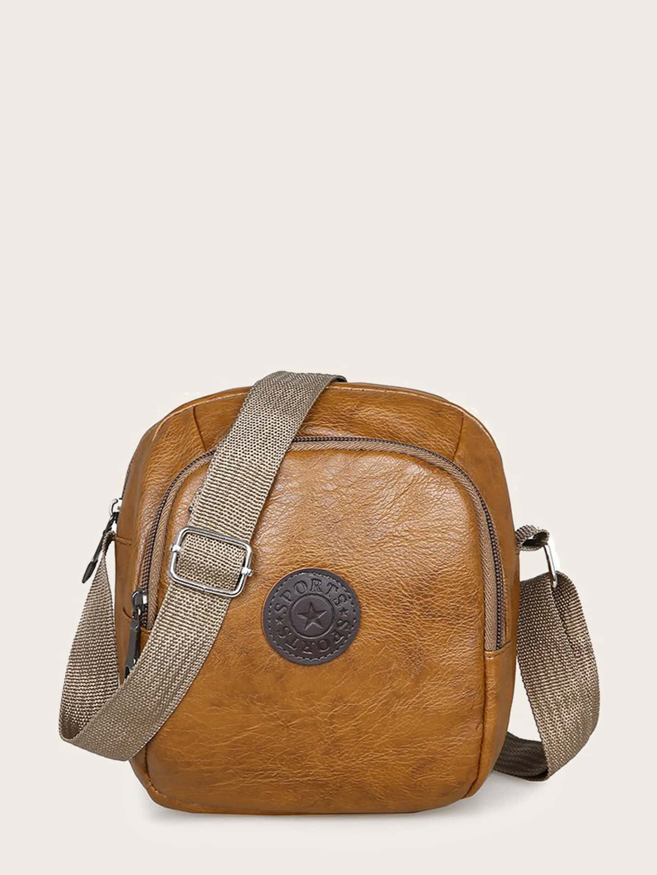 men letter patch crossbody bag