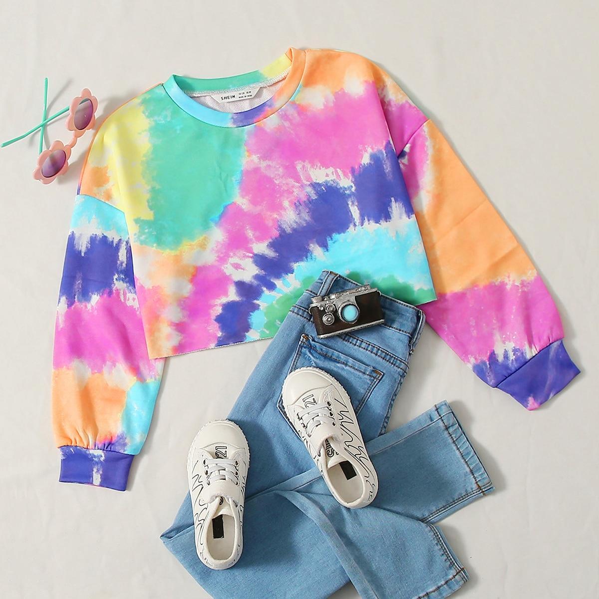 Пуловер с принтом тай дай для девочек