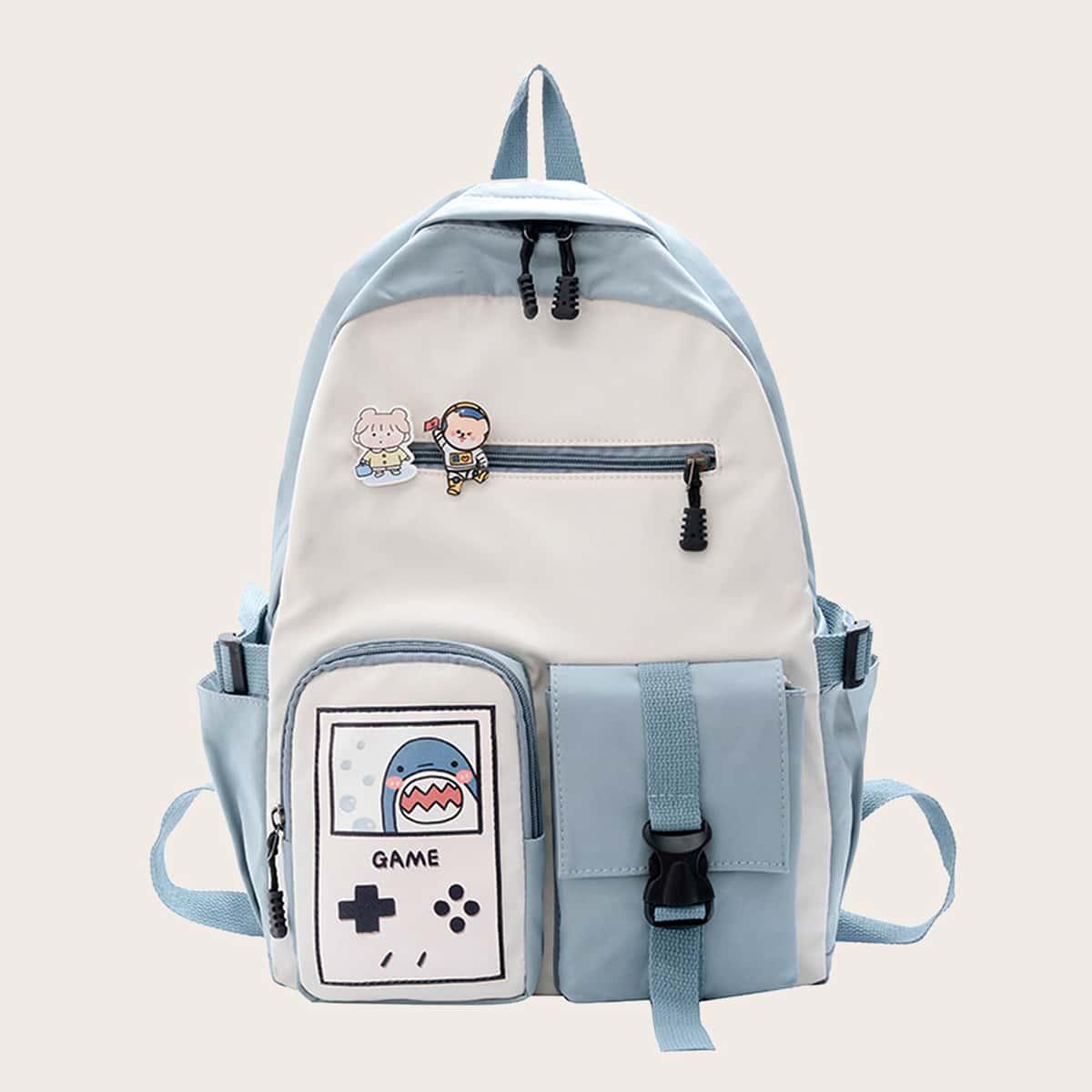 Контрастный рюкзак с мультипликационным принтом