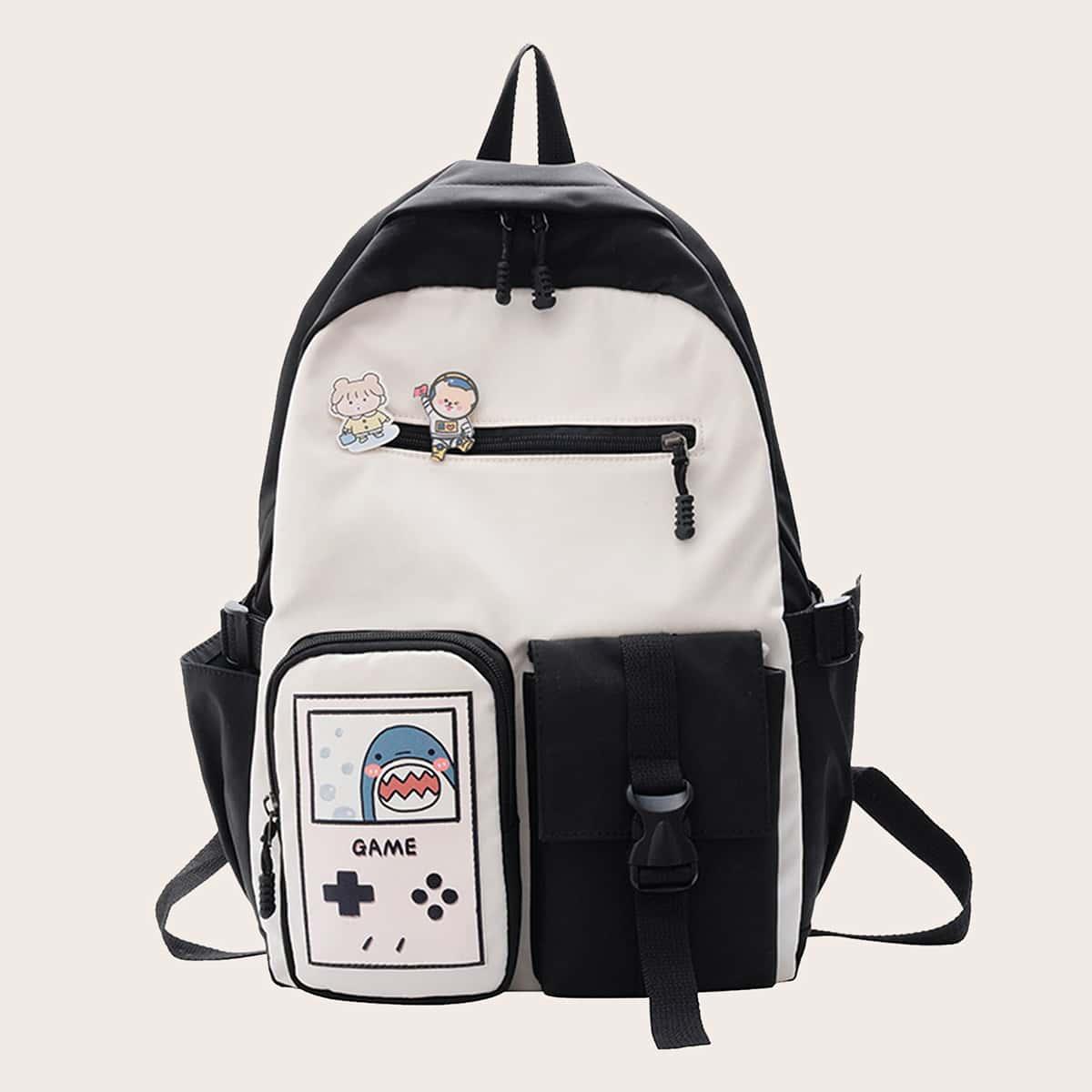 Контрастный рюкзак с мультипликационным рисунком