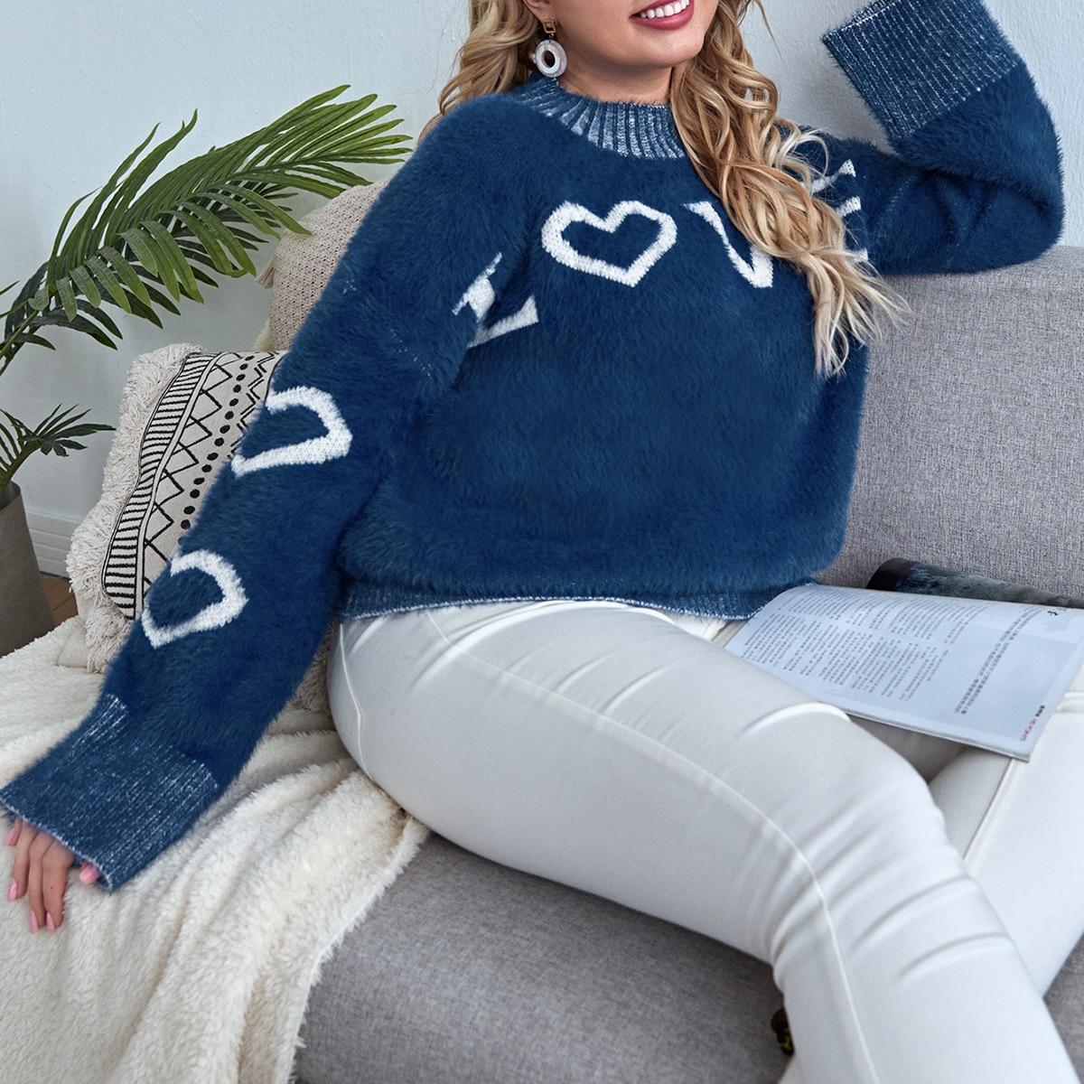 Трикотажный свитер с текстовым рисунком размера плюс