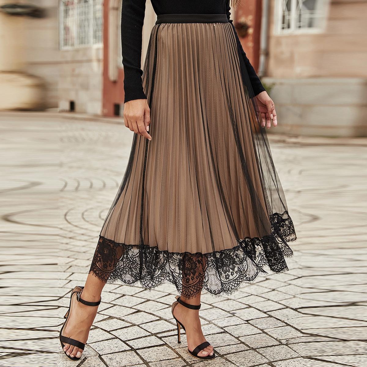 Сетчатая плиссированная юбка с кружевной отделкой