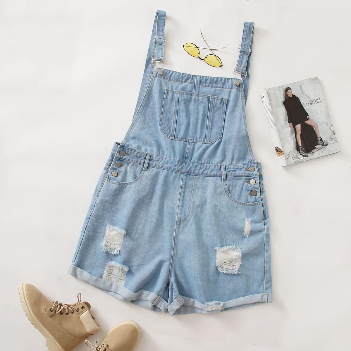 Рваный джинсовый комбинезон с пуговицами размера плюс