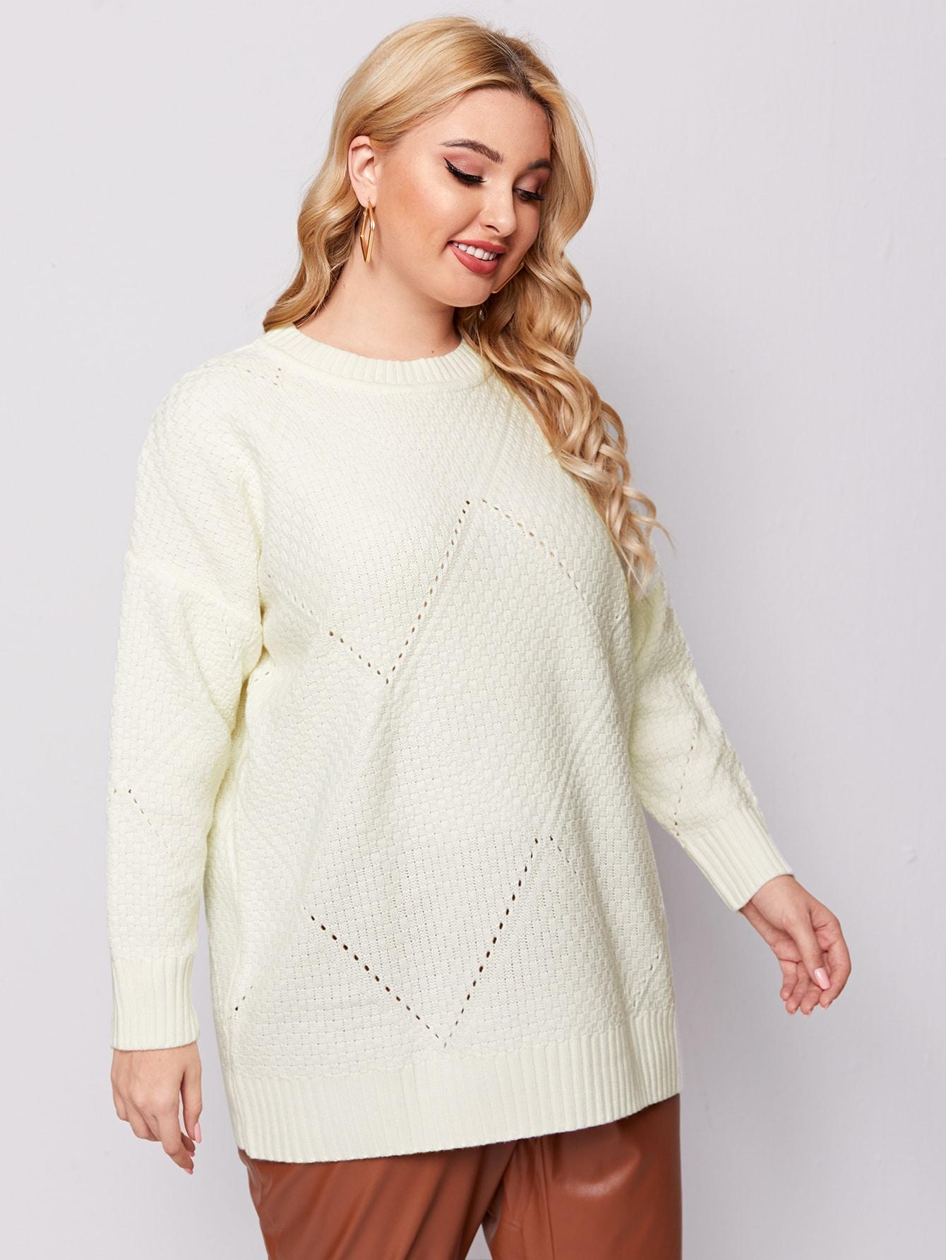 Plus Drop Shoulder Pointelle Knit Sweater thumbnail