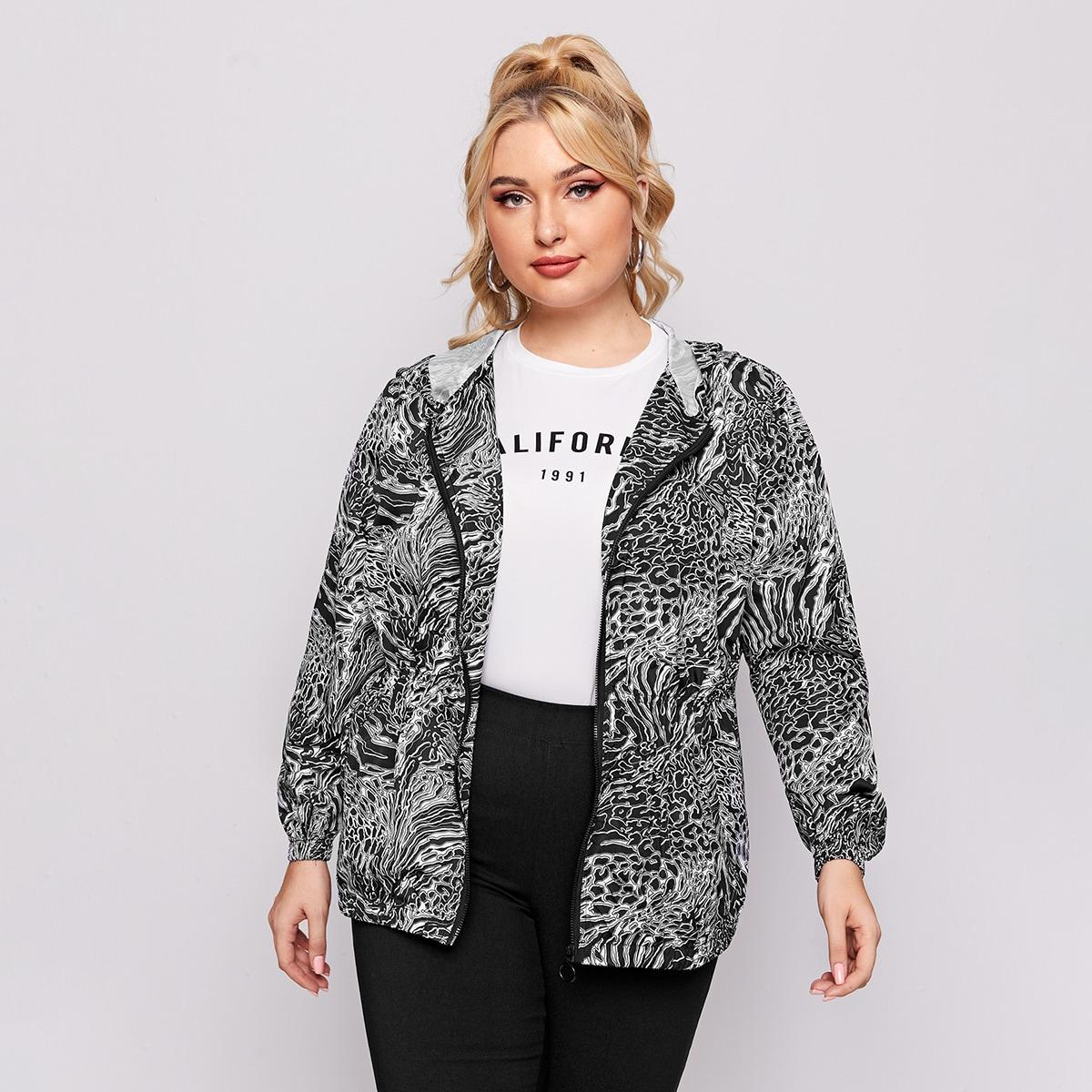 Куртка размера плюс на молнии с капюшоном и принтом