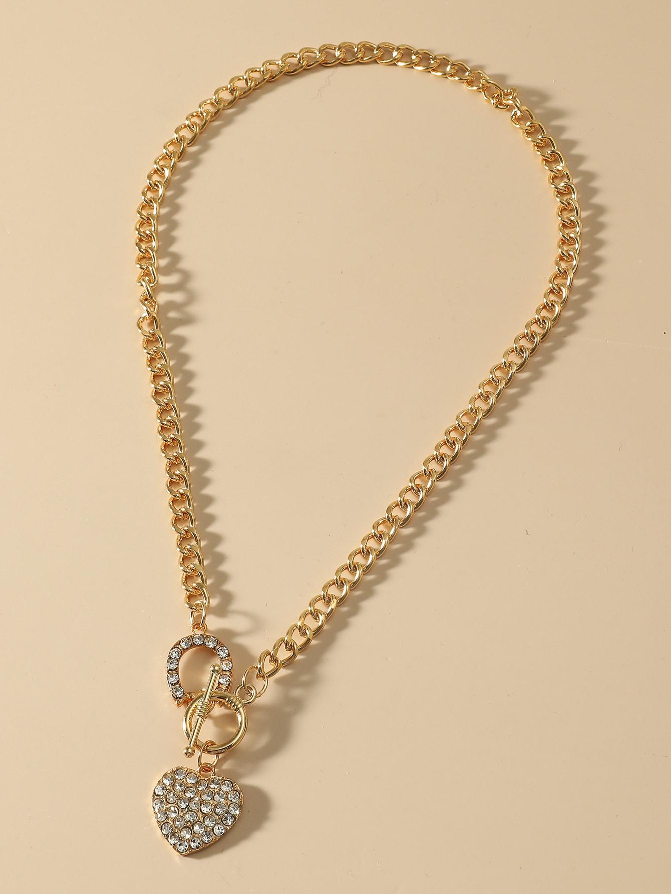 Rhinestone Heart Chain Necklace thumbnail