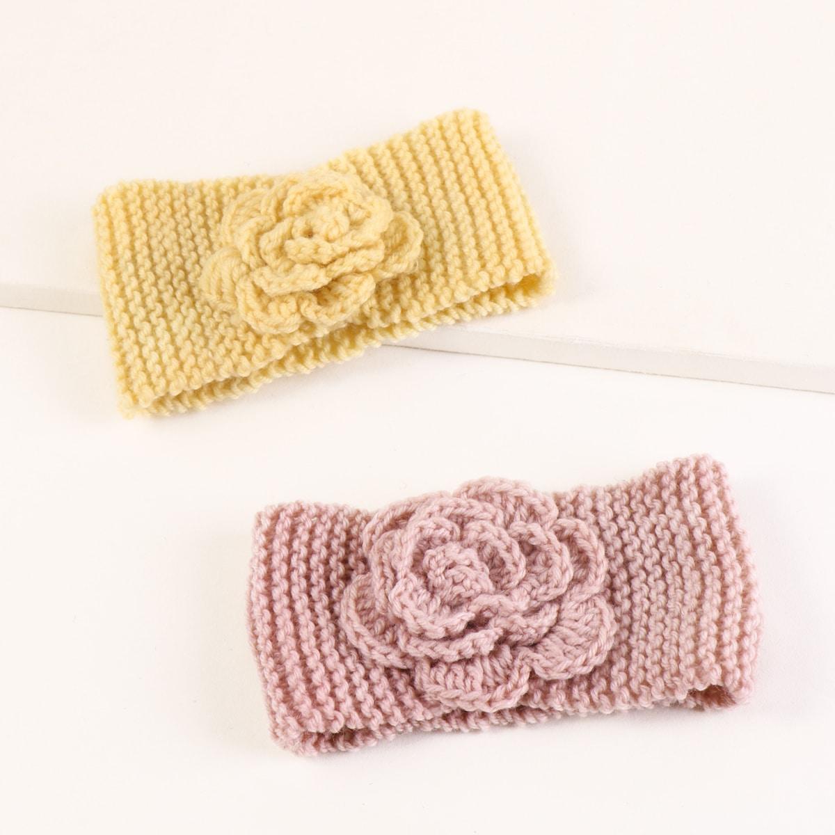2 Stücke Strick Kopfband mit Blumen Dekor