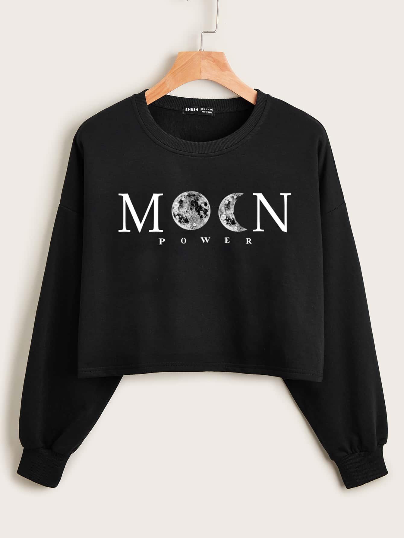 Drop Shoulder Letter & Moon Print Crop Pullover thumbnail