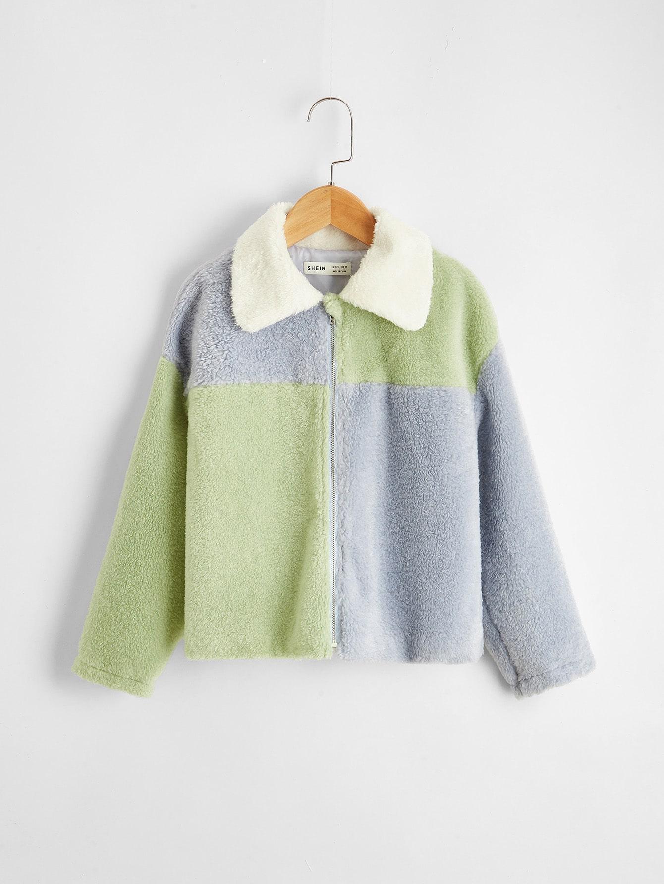 girls contrast panel teddy jacket