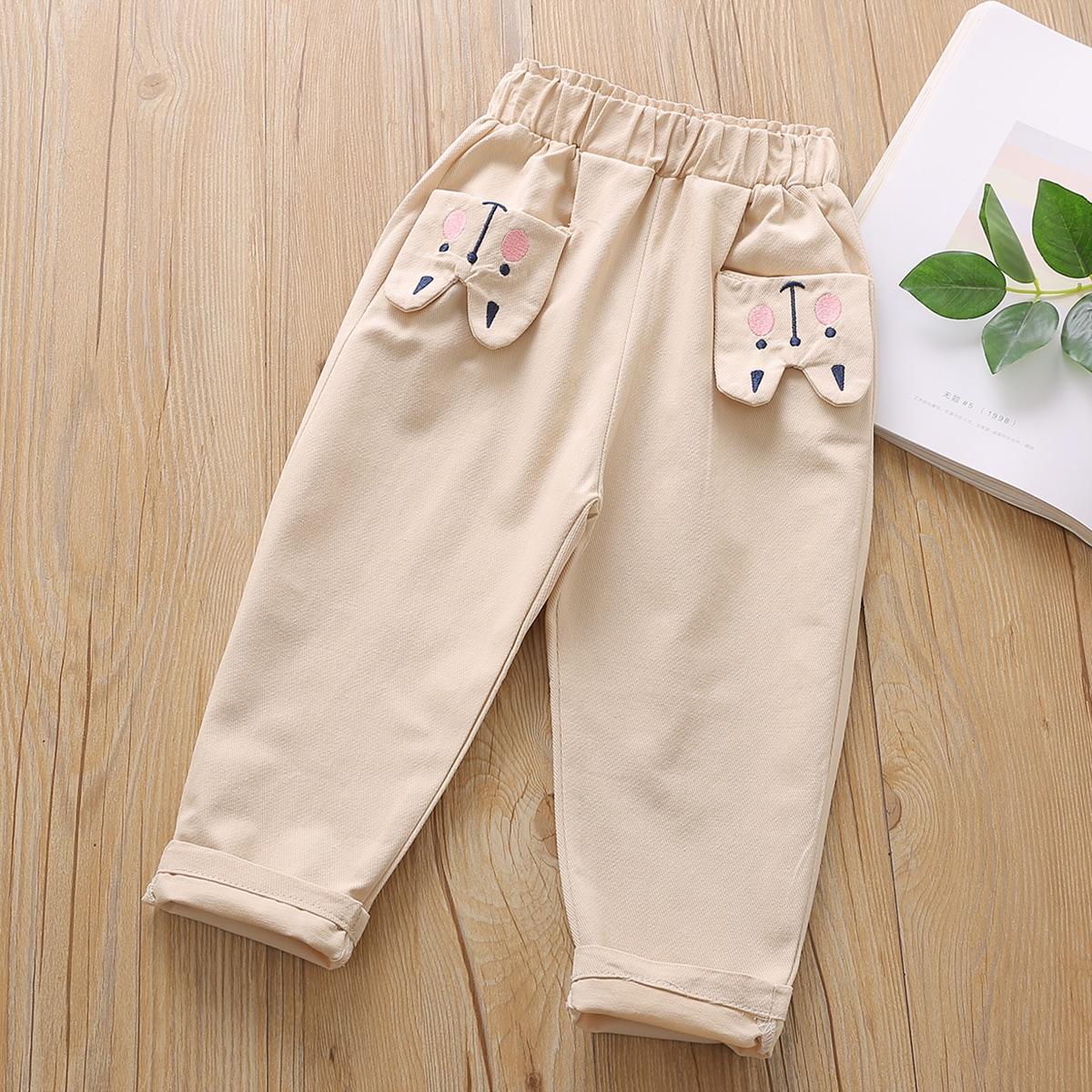 С вышивкой мультяшный принт повседневный брюки для маленьких девочек