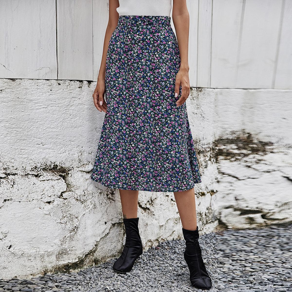 Миди-юбка с цветочным принтом