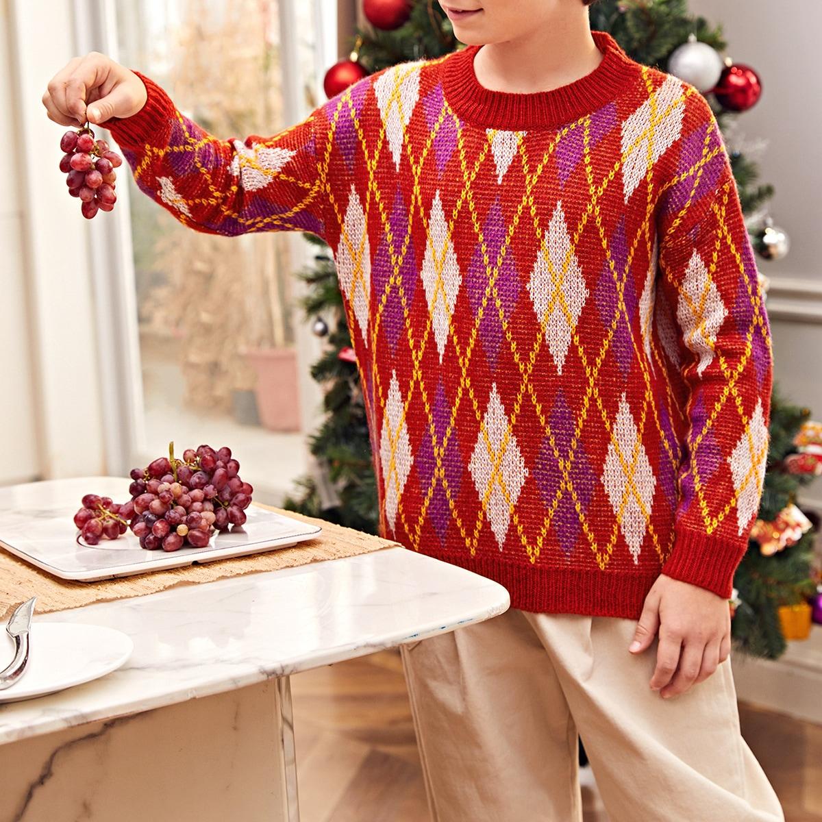 Рождество свитер с узором для мальчиков