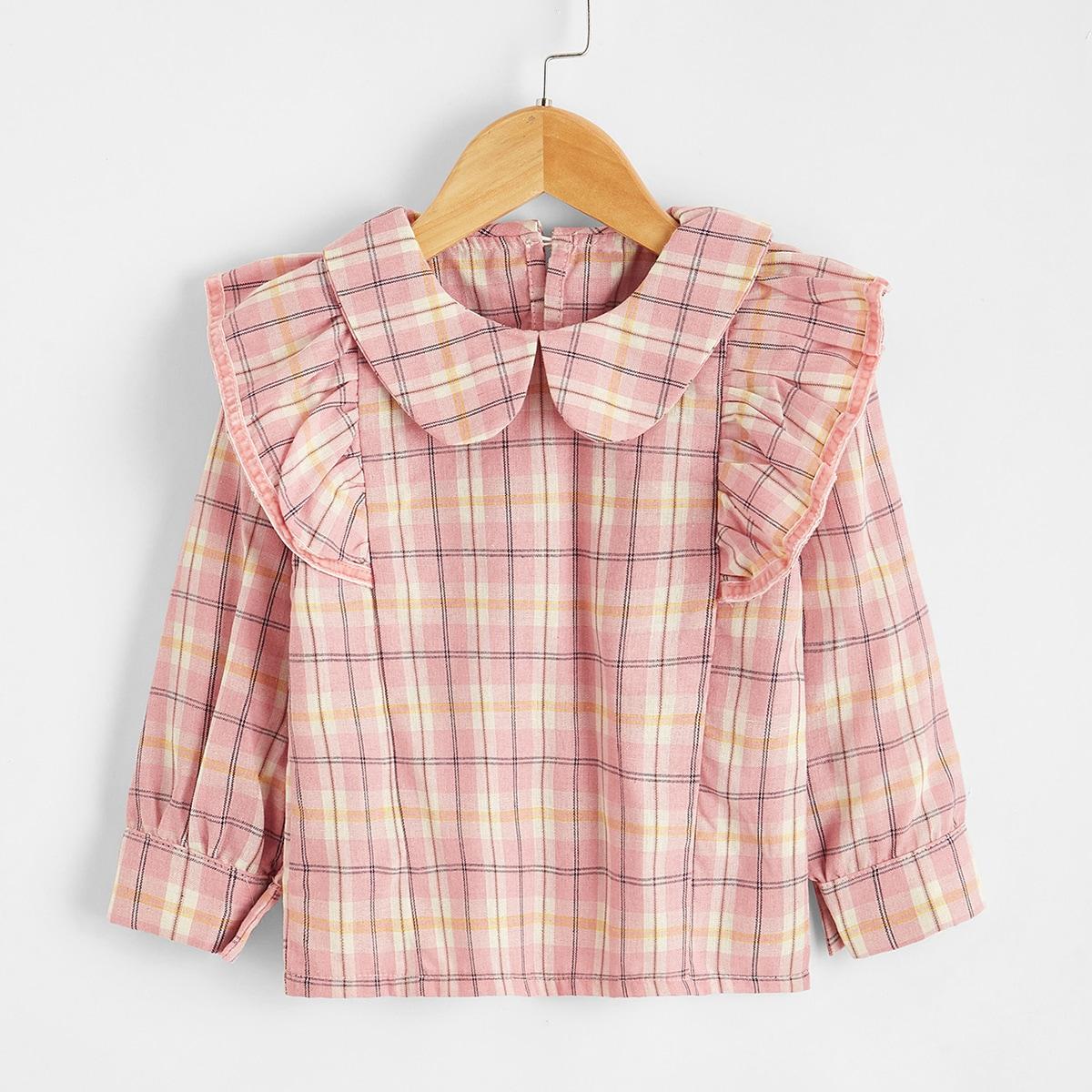 Блуза в клетку с оборками для девочек