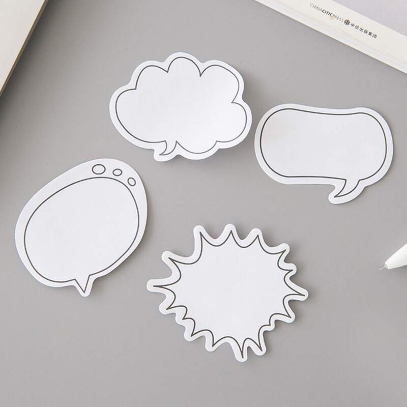 1pack Chat Bubble Shaped Random Sticky Note, White