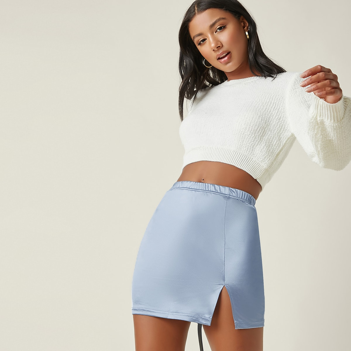 Elastic Waist Split Hem Satin Skirt