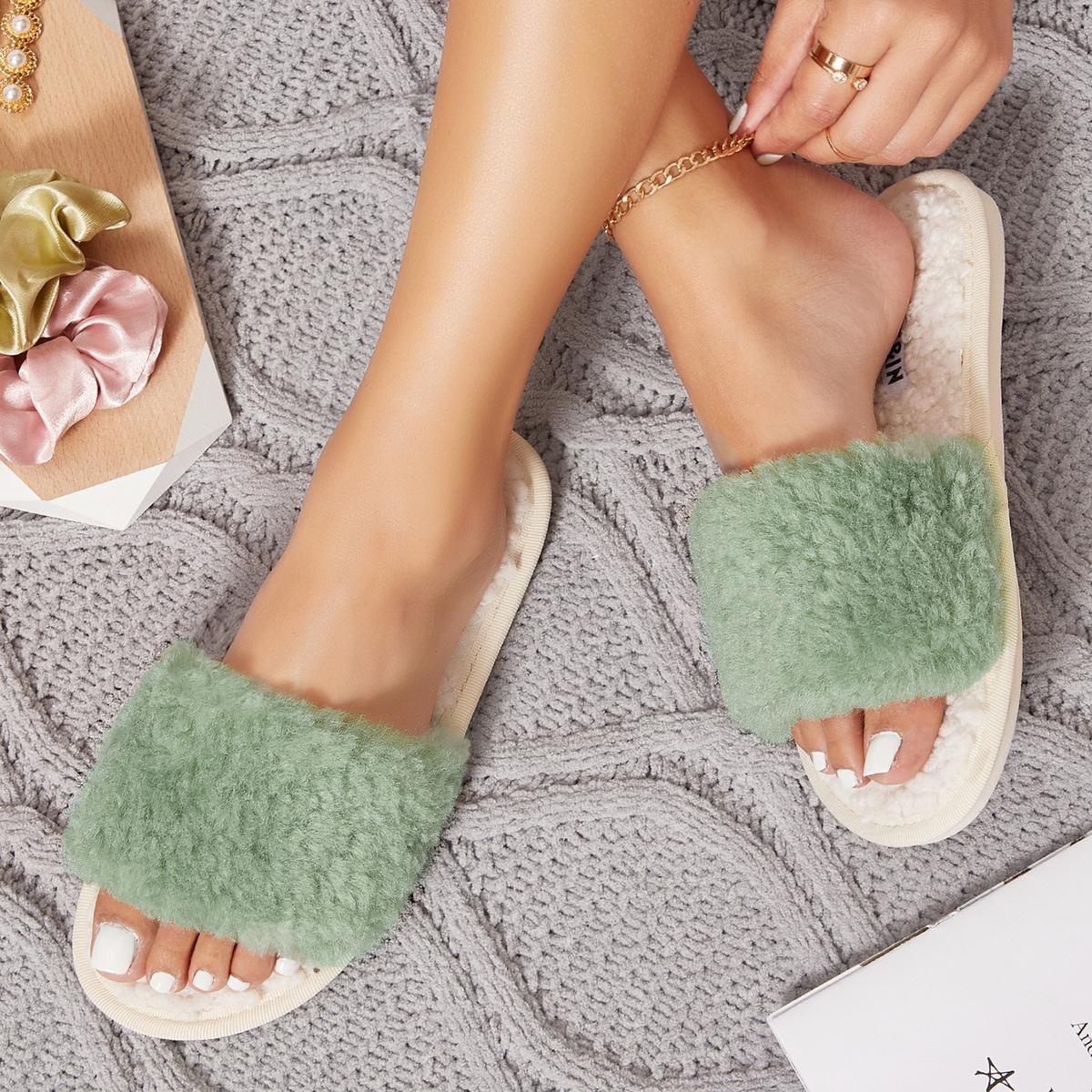 Плюшевые сандалии из искусственной кожи