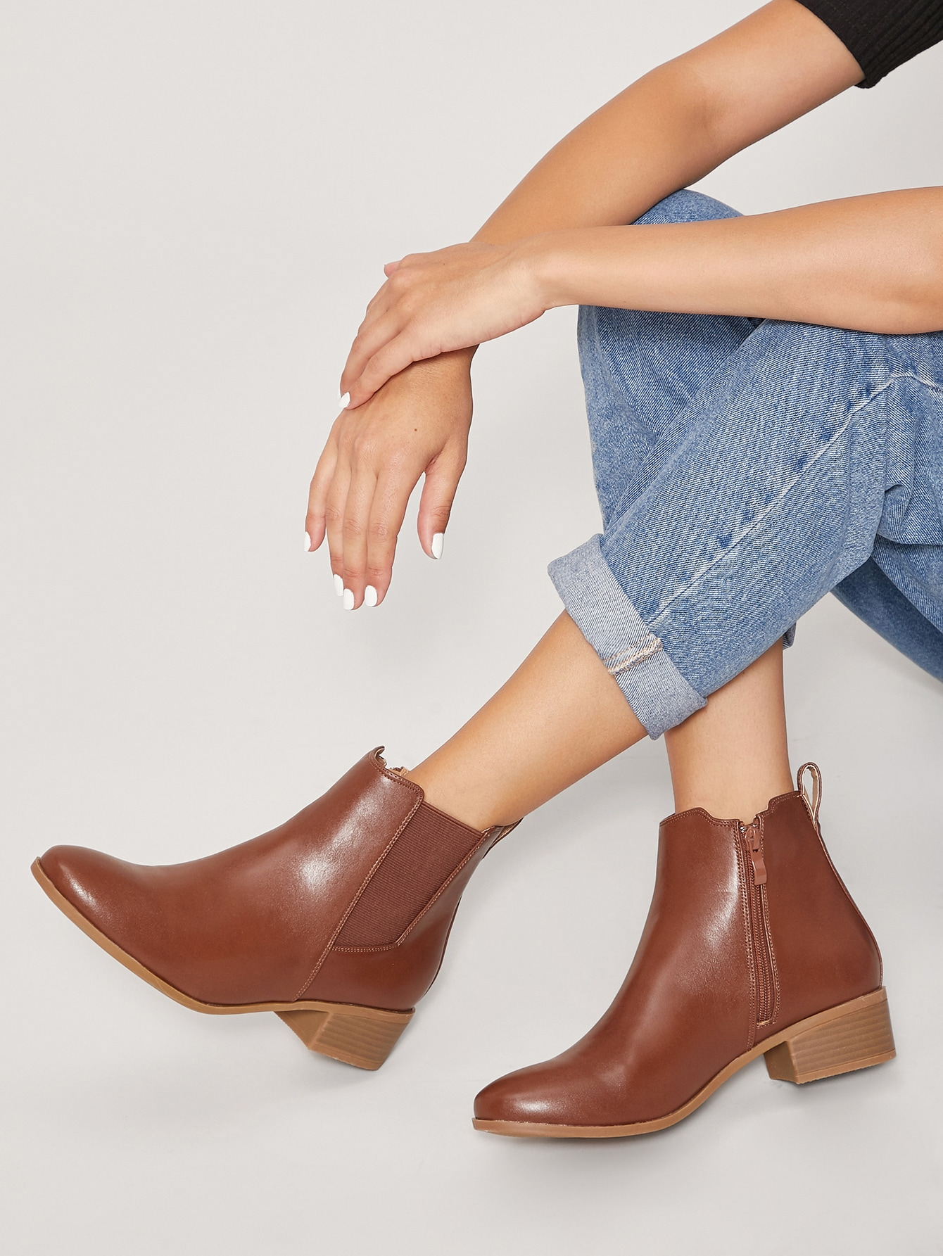 Brown Faux Leather Ankle Chelsea Boots