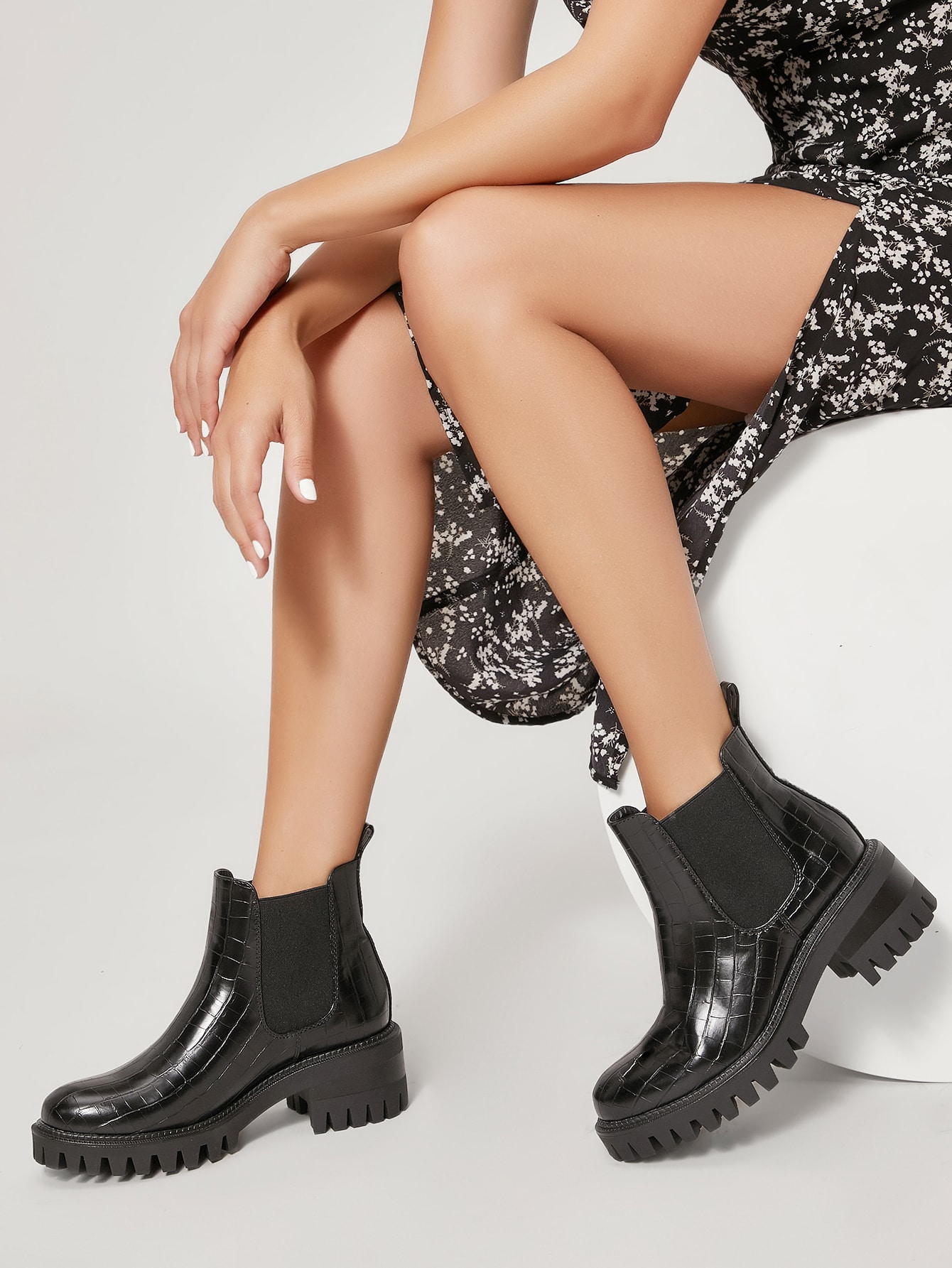 Croc Embossed Lug Sole Chelsea Boots