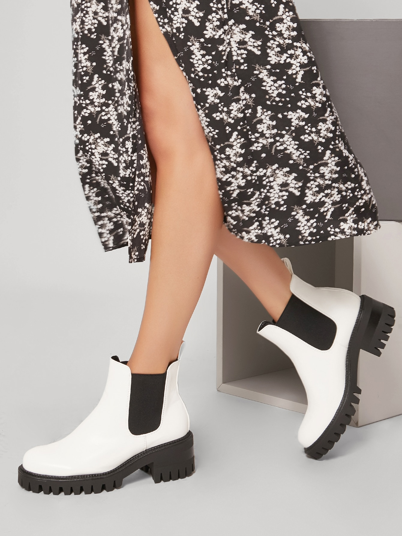 Vegan Leather Lug Sole Block Heel Ankle Boots