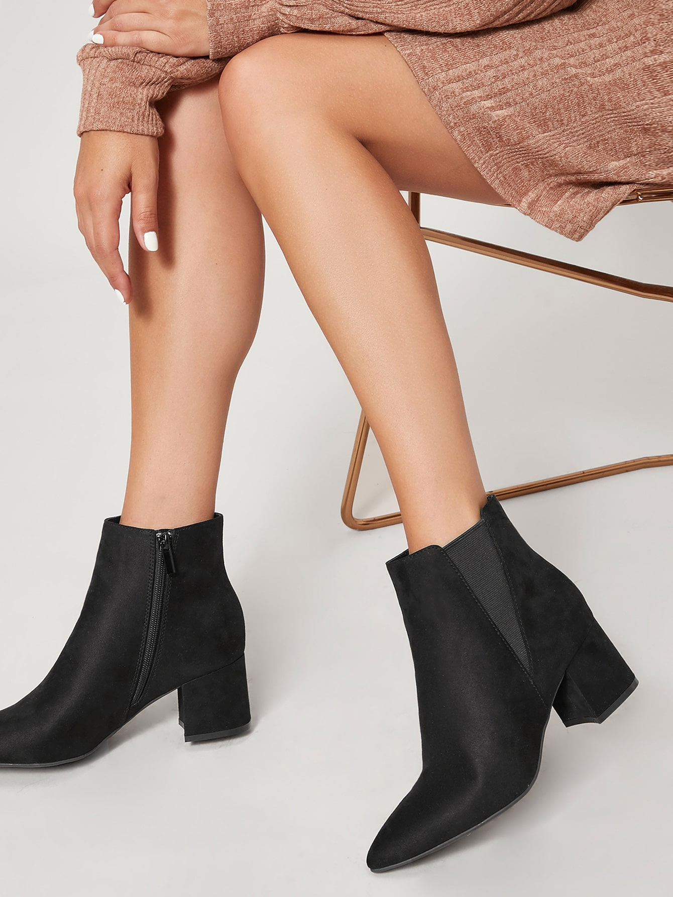 Faux Suede Pointed Toe Low Heel Ankle Boots