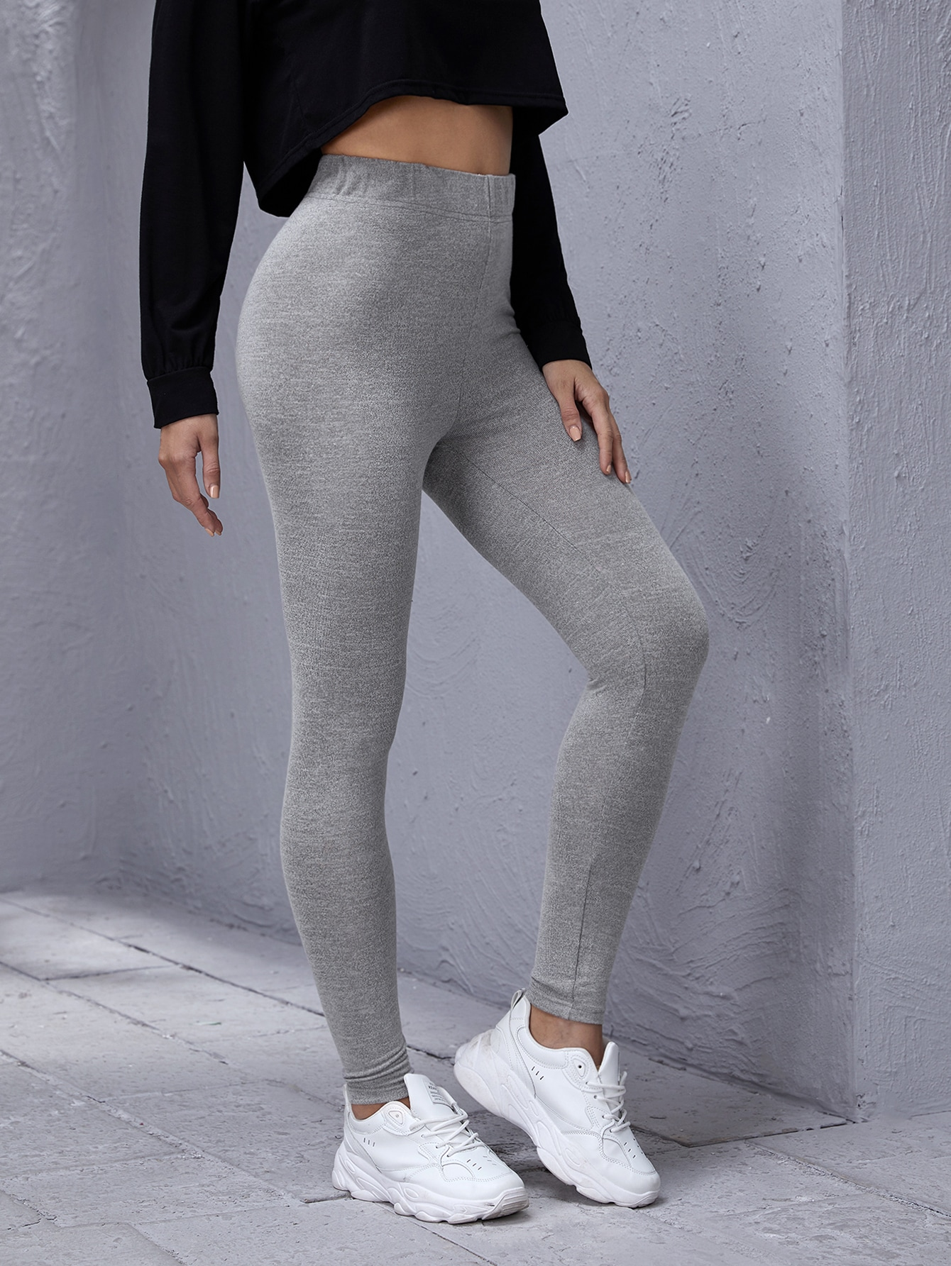 Elastic Waist Solid Leggings thumbnail