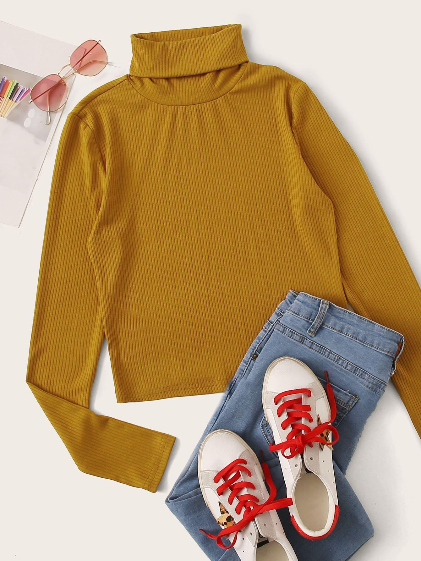 Plus Rolled Neck Rib-knit Tee thumbnail
