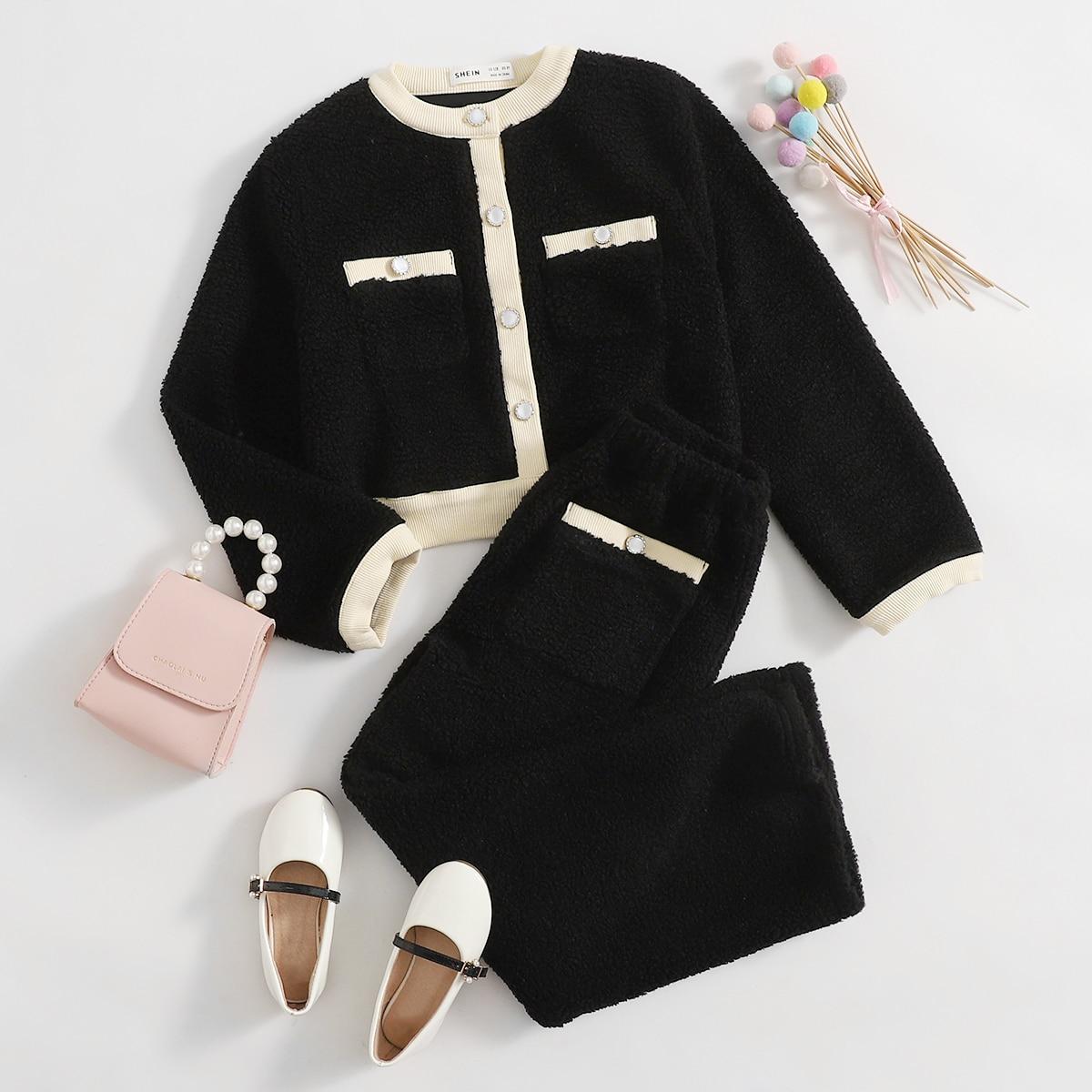 Плюшевая куртка с ппуговицами и брюки для девочек