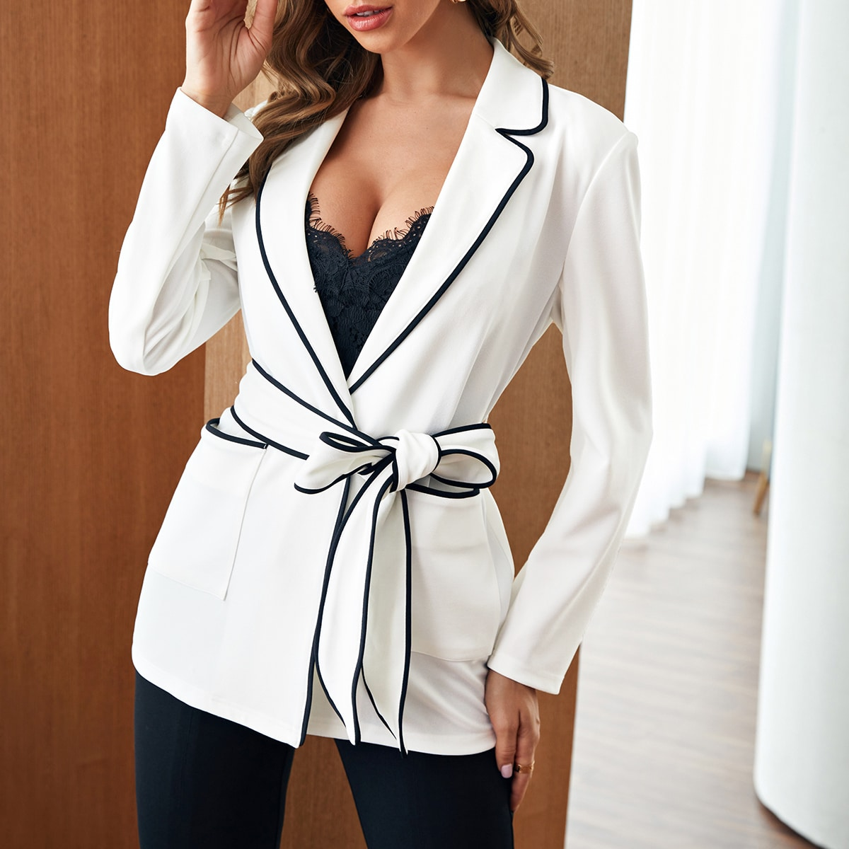 Contrast Binding Patch Pocket Belted Blazer