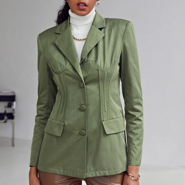 Notched Collar Single Breasted Seam Front Blazer, Army green
