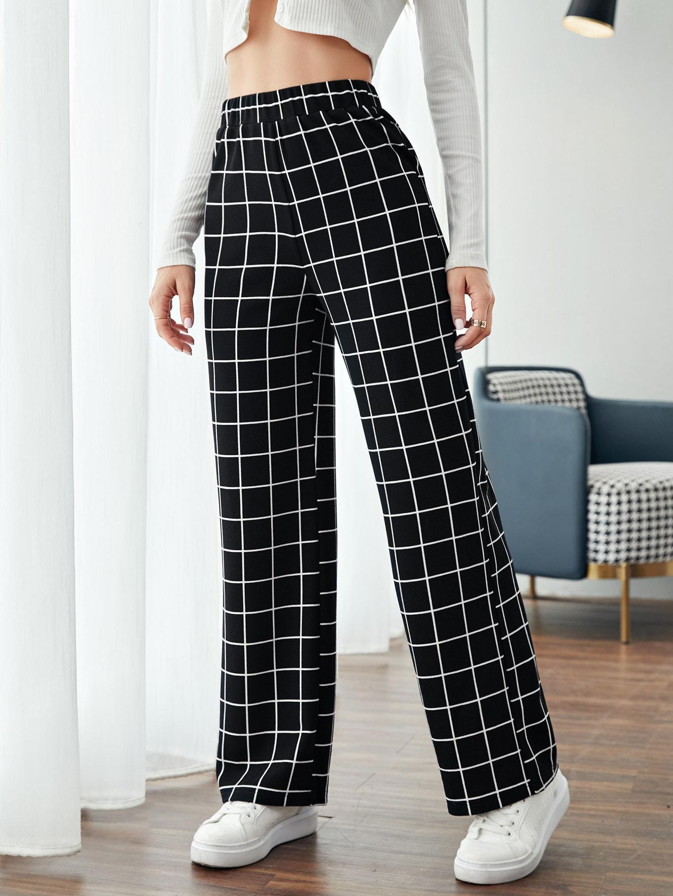 Elastic Waist Grid Print Pants thumbnail