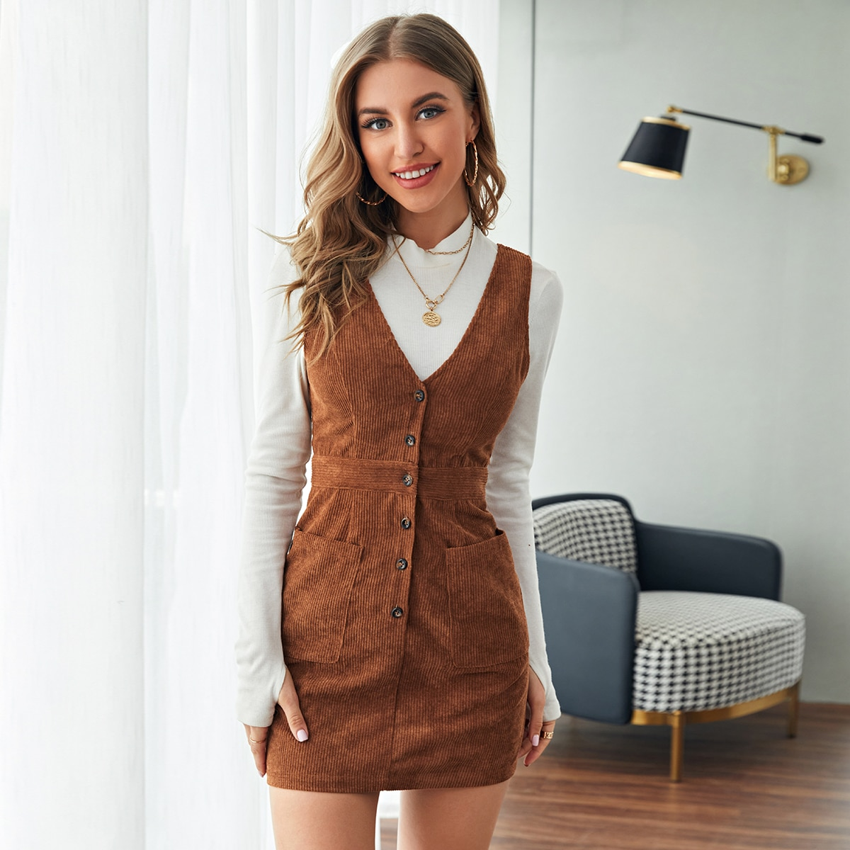 Single Breasted Patch Pocket Cord Overall Dress