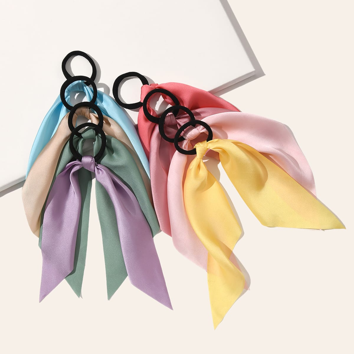 8pcs Girls Bow Knot Decor Hair Tie