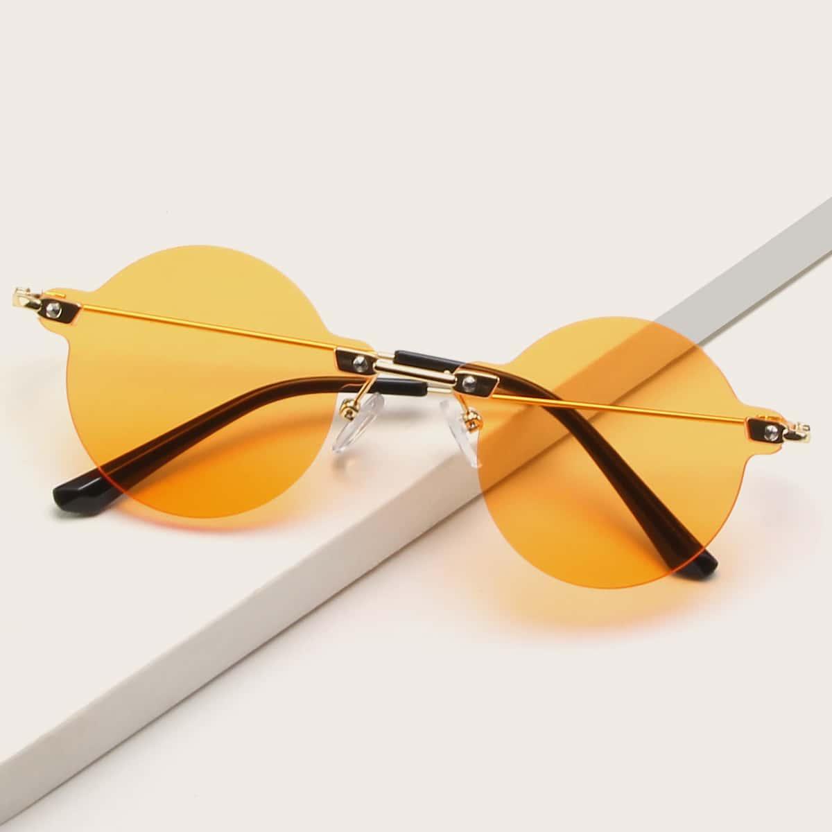 Круглые солнцезащитные очки без оправы