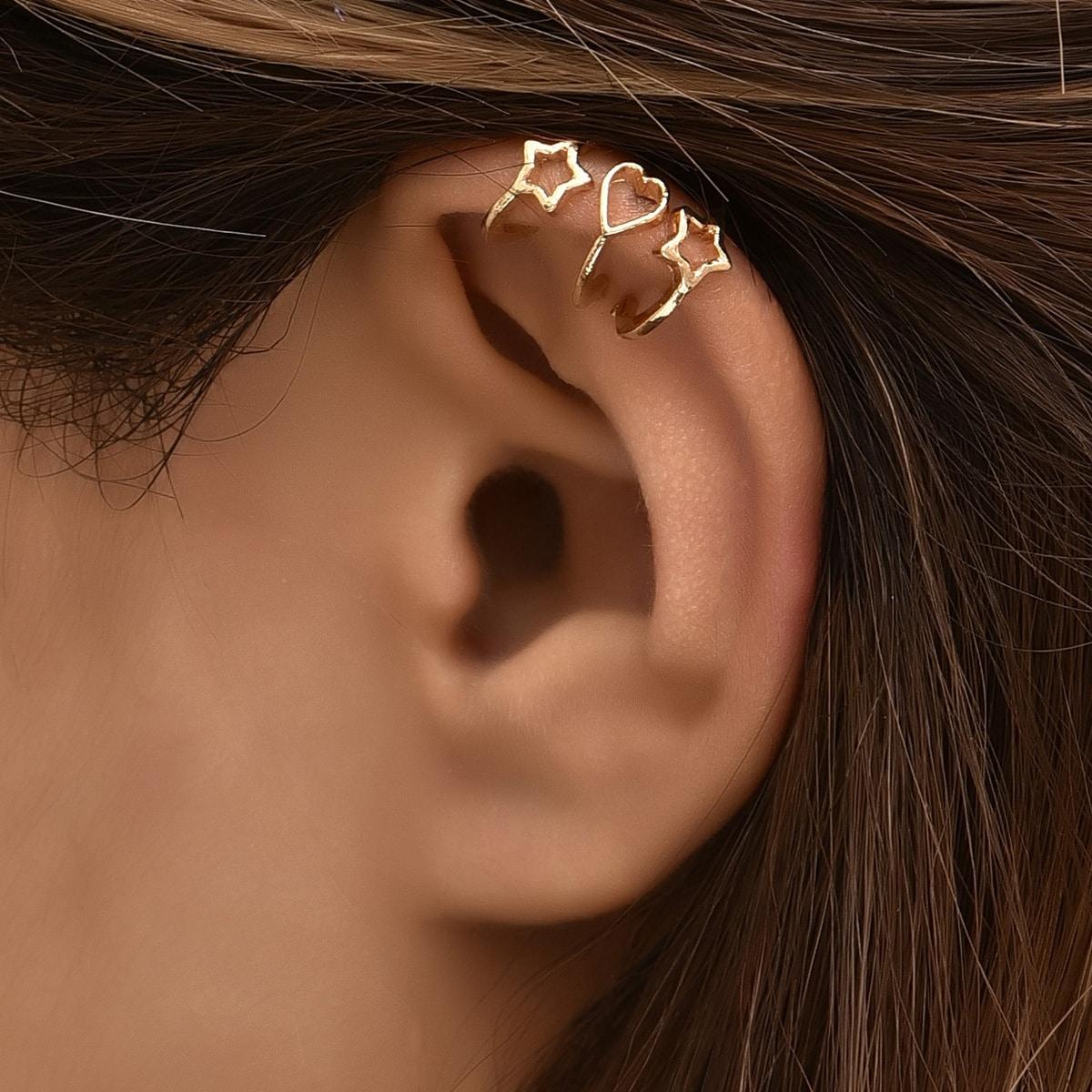 Украшения для ушей в форме сердца и звезды 3шт