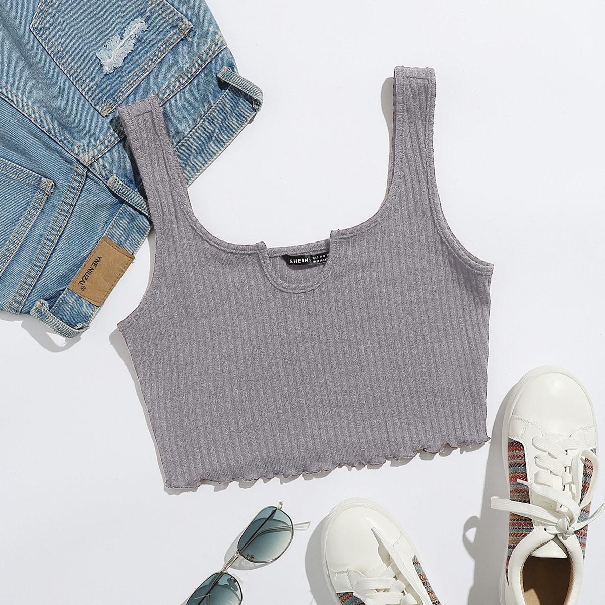 Notched Letter Trim Rib-knit Crop Tank Top