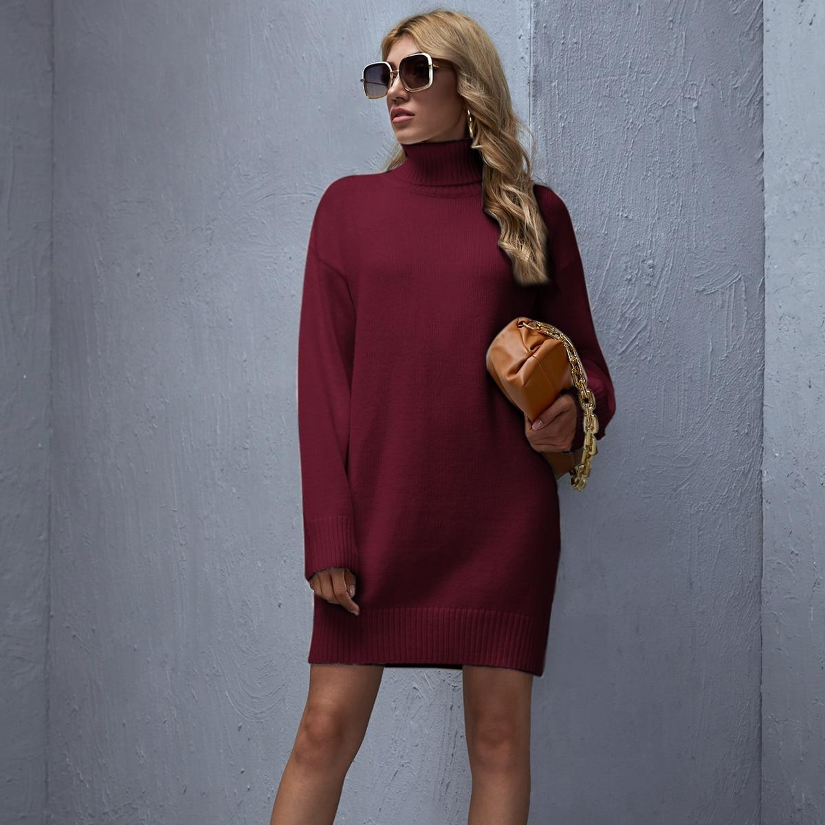 High Neck Drop Shoulder Solid Sweater Dress