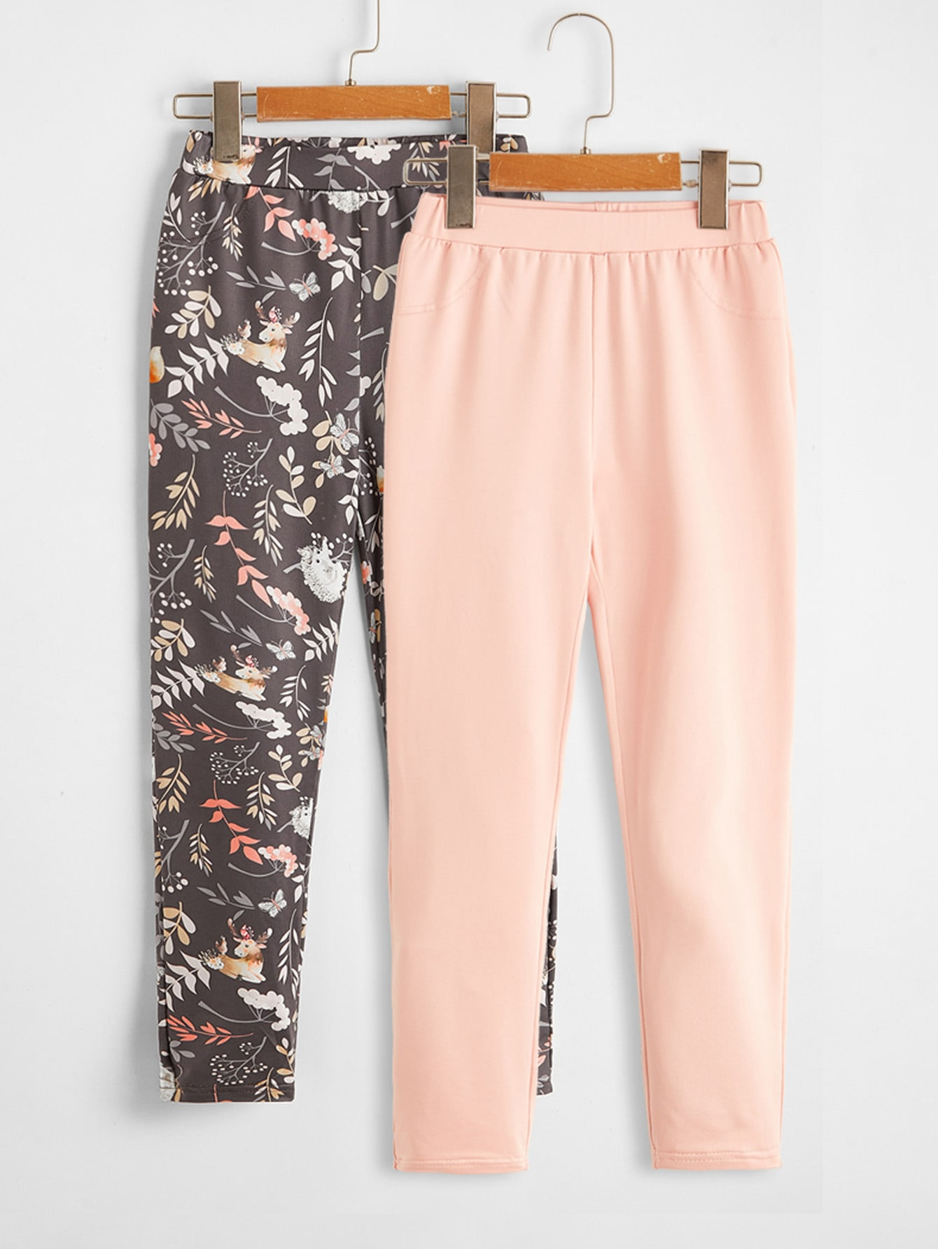 Girls 2 Pack All Over Print & Solid Pants