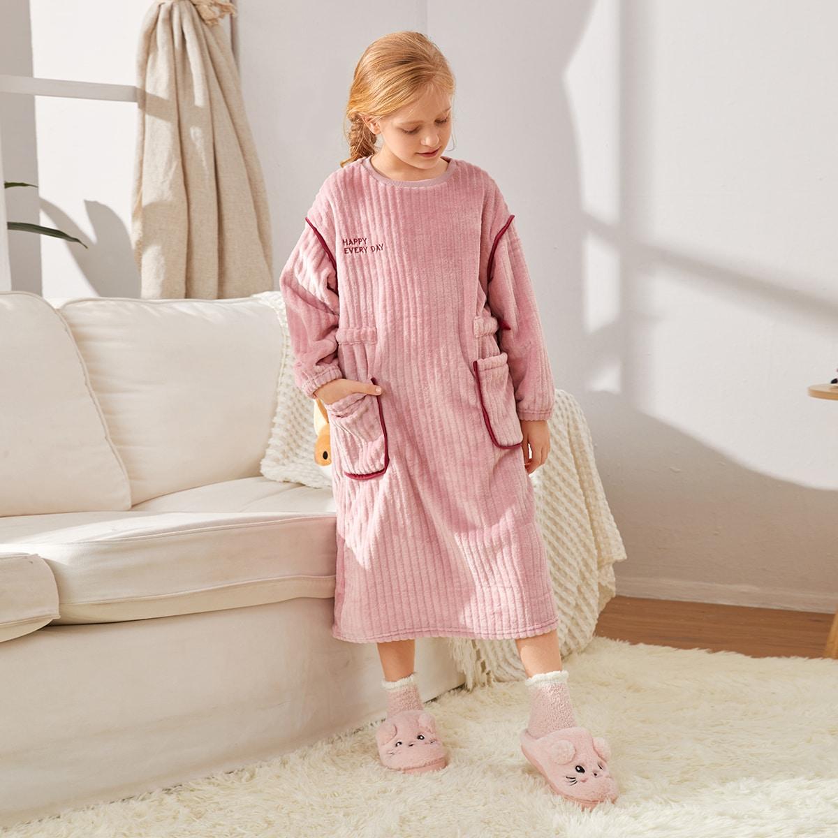 с вышивкой Лозунг Повседневный Домашняя одежда для девочек