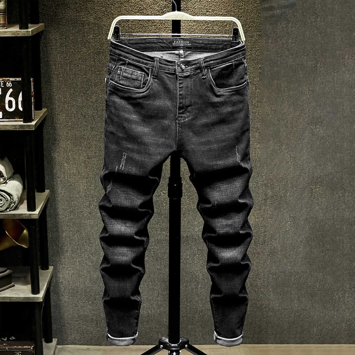 Мужские рваные однотонные джинсы
