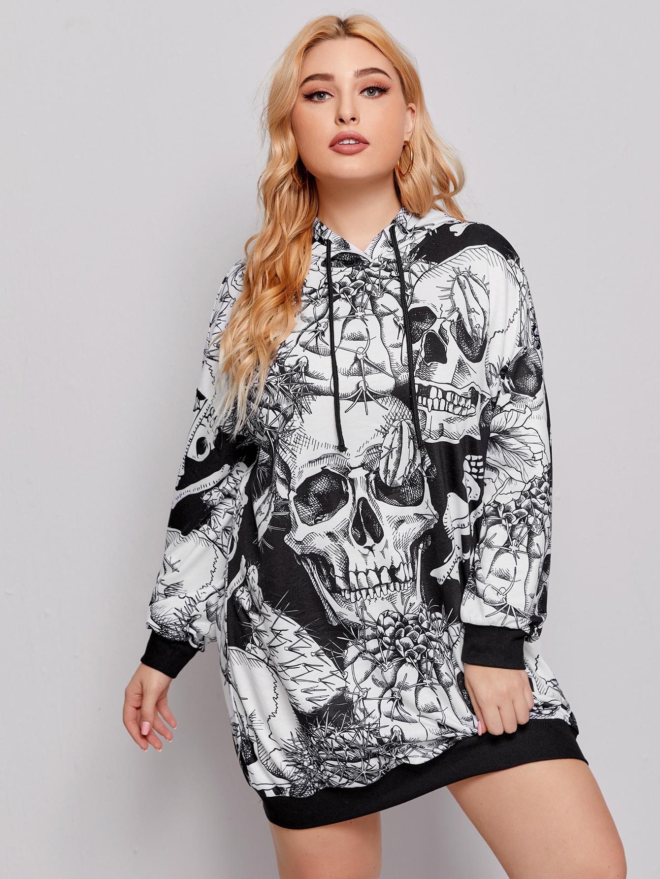Plus Skull All Over Print Drawstring Hooded Sweatshirt Dress thumbnail