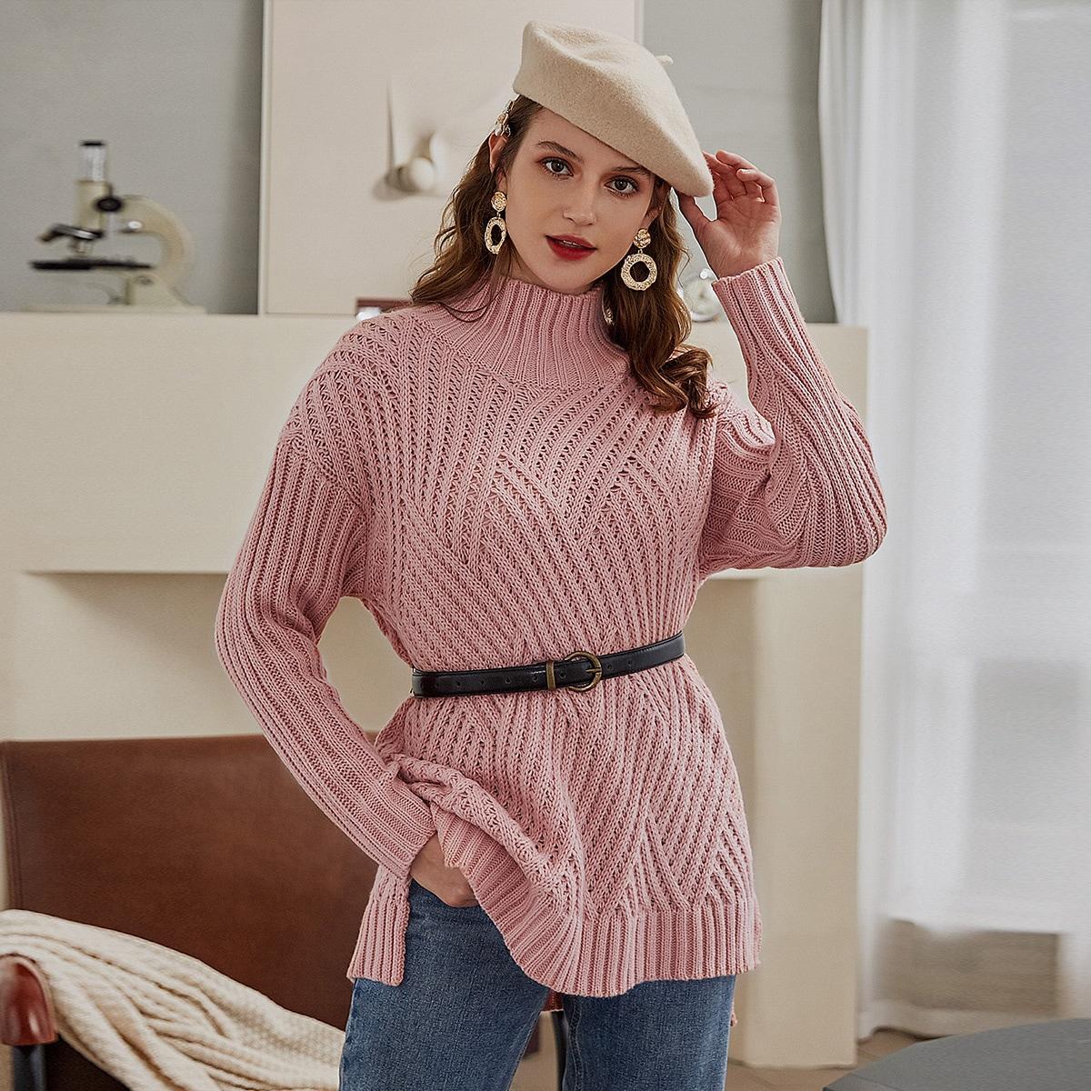 Трикотажный свитер с высоким воротником и разрезом без пояса