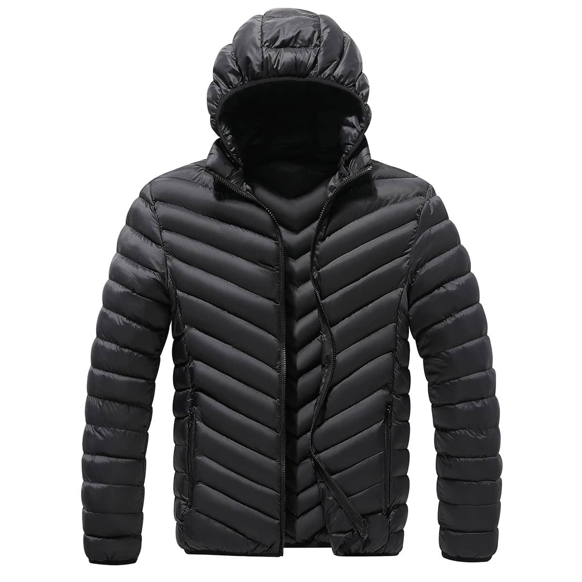 Мужская ватная куртка на молнии с карманом