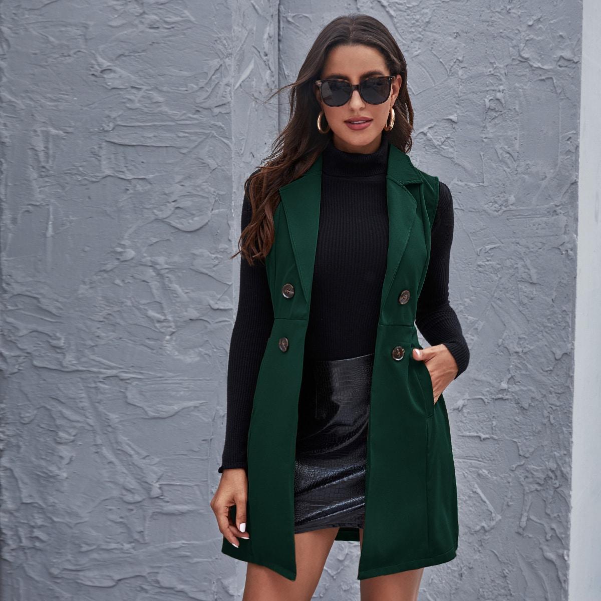 на пуговицах Одноцветный Элегантный Пальто