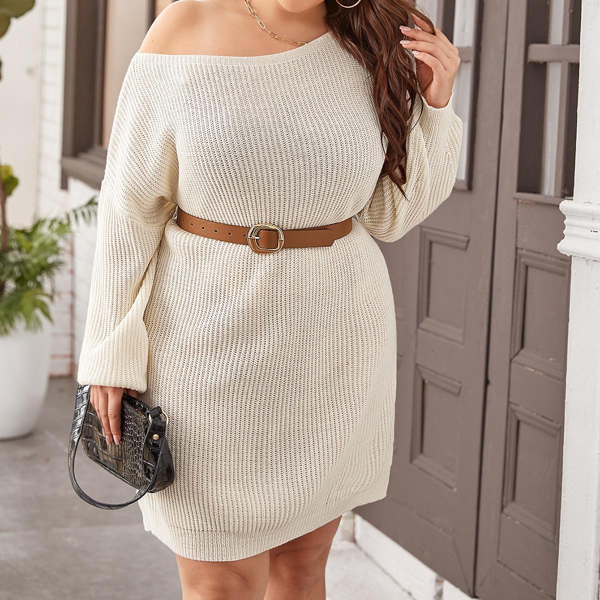 Одноцветный повседневный свитер-платье размер плюс