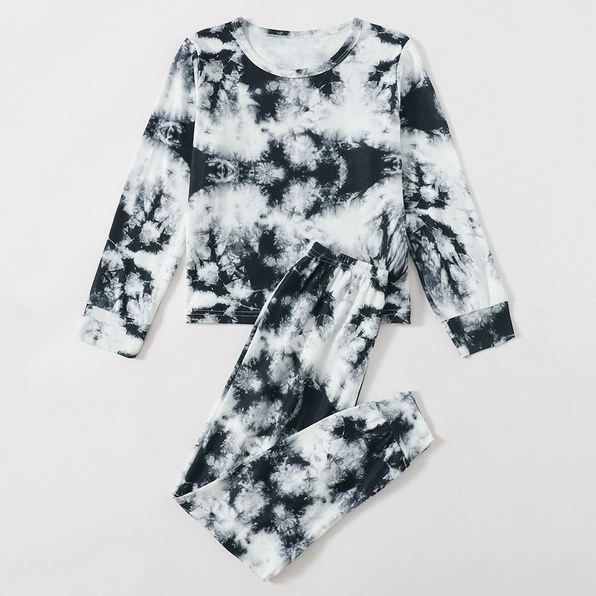 Шнуровка тай дай Повседневный Домашняя одежда для девочек
